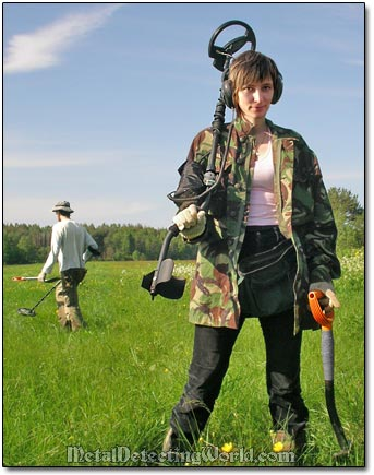 Girl Irina Metal Detecting