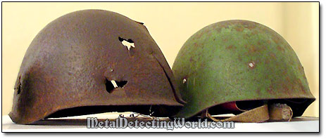 Two Excavated WW2 Red Army Steel Helmets