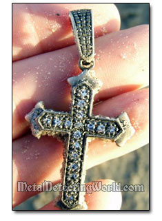 Dry Beach Find Silver Crucifix with Sapphires