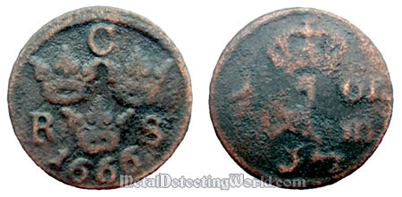 Sweden 1666 1/6 Ore Copper Coin After Cleaning and Patination