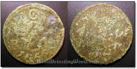 17th Century Swedish Dug Copper Coin Before Cleaning
