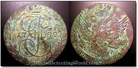 18th Century Dug Copper Coin Before Being Cleaned