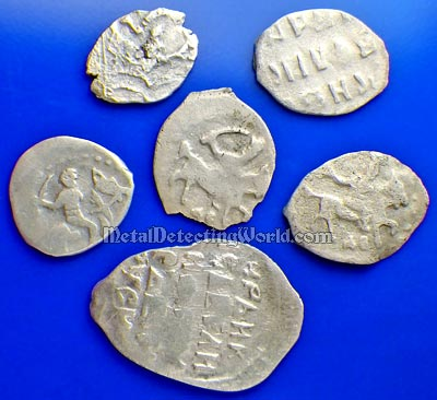 Hammered Silver Coins After Galvanic Cleaning