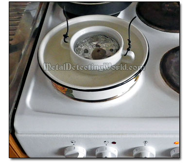 Heat Up Galvanic Cell with Silver Coins on Stove
