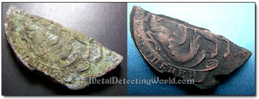 18th Century Copper Coin Half Cleaned