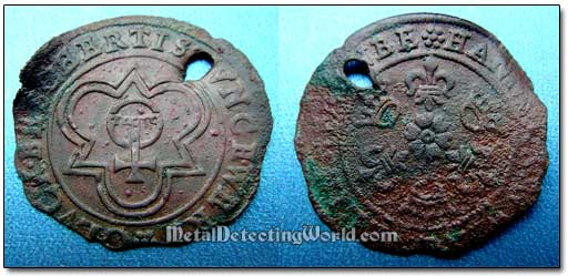 18th Century Dug Copper Jetton After Cleaning