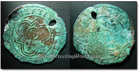 18th Century Dug Copper Jetton Uncleaned