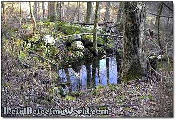 Remains of Cellar Hole in Upstate New York Forest