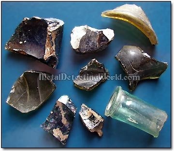 Old Bottle Glass Fragments, circa 17th-19th Centuries