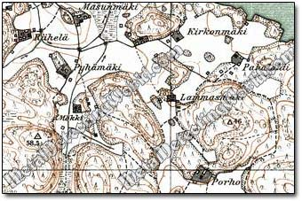Single Homesteads on Finnish 1:20,000 Topo Map