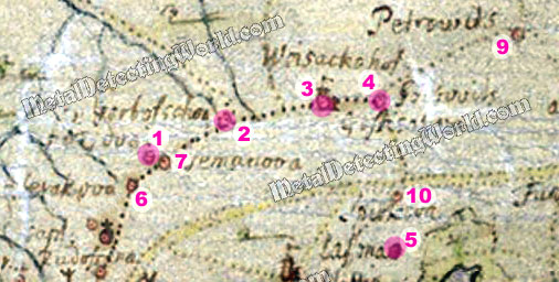 A Fragment of Historic 1704 Map for Research