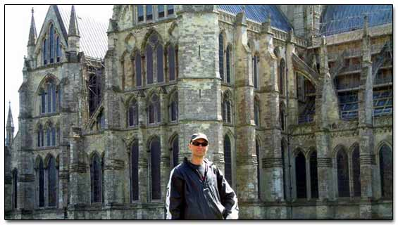 Sergei Infront Of Bath Cathedral
