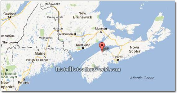 Location of David's home town Berwick in Nova Scotia, Canada, on Google Map
