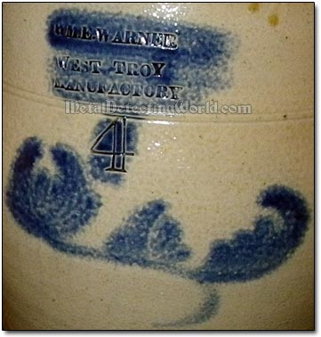 Cobalt Blue Glazed Pattern with Maker's Stamp or Mark
