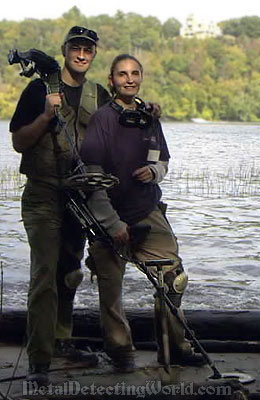 Sergei and Shelly Metal Detecting on Connecticut River's Bank