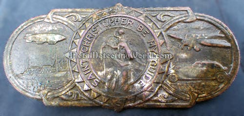 Authentic 'Saint Christopher Be My Guide' Visor Badge, ca. 1920s, Provides Divine Protection for Travellers