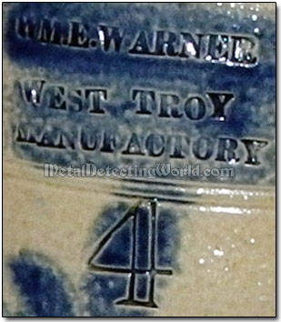 Stoneware Maker's Stamp - WM.E. Warner, West Troy Manufactury