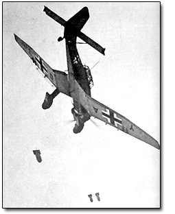 German JU-87 Stuka Assault Plane Dropping Bombs