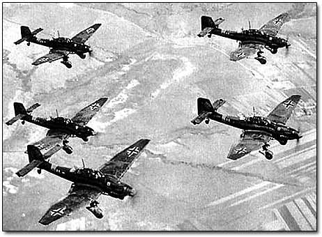 German JU-87 Stuka Assault Plane Formation
