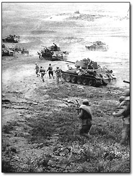 Russian Tanks and Troops Attack
